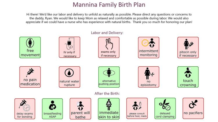 birth plan for natural labor