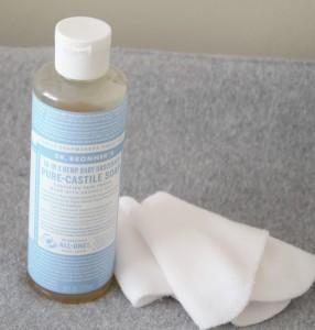 Dr Bonner castile soap for cloth diaper wipe solution