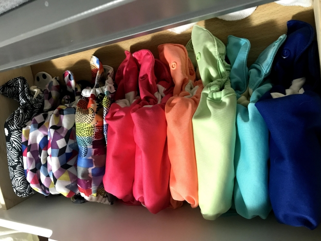 Cloth diapers in different colors