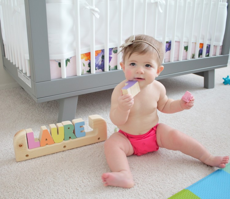 Baby in a Bumgenius cloth diaper