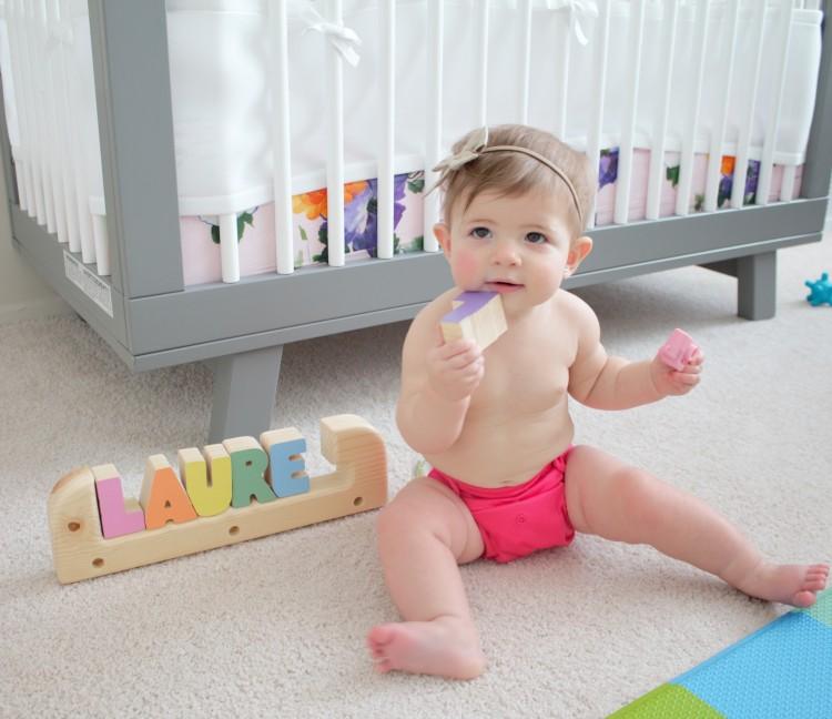 Baby in a Bumgenius cloth diaper