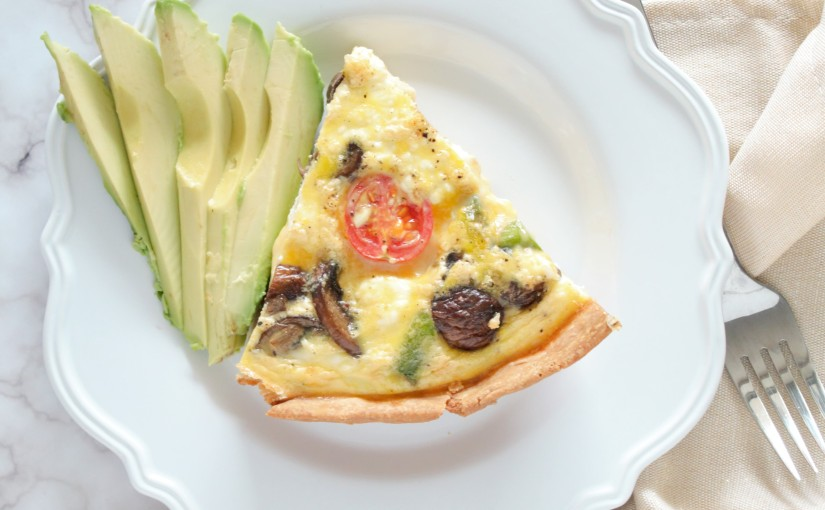 slice of vegetable quiche with avocado