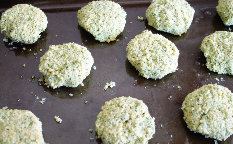falafel patties ready to be cooked