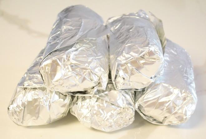 Burritos ready for the freezer